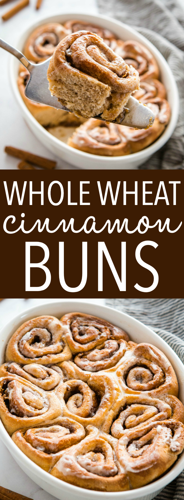 These Best Ever Whole Wheat Cinnamon Buns are sweet and sticky and made with whole wheat. Perfect cinnamon rolls from scratch with our pro tips! Recipe from thebusybaker.ca! #cinnamonrolls #cinnamonbuns #cinnamon #baking #breakfast #brunch #homemade #homesteading #holiday via @busybakerblog