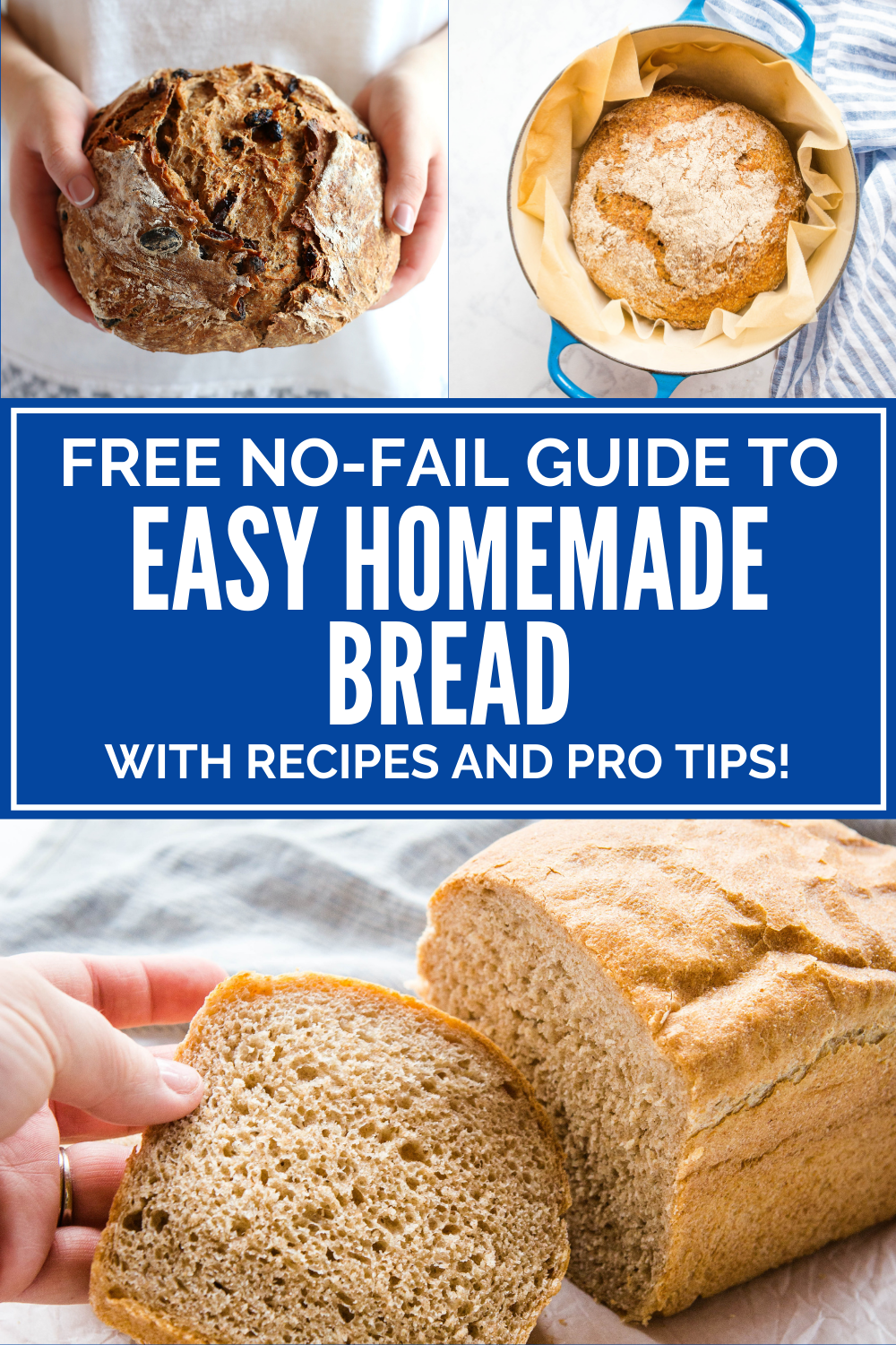FREE No Fail Guide to Easy Homemade Bread! The BEST homemade bread recipes anyone can make, with easy pro tips! Sign up on thebusybaker.ca! #recipes #freecourse #ecourse #homemadebread #howtomakebread #homemade #protips #bakingtips #howtobake via @busybakerblog