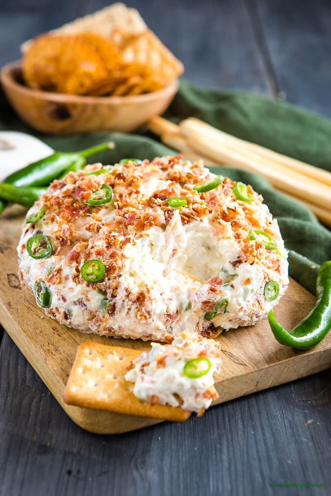bacon cheddar ranch cheese ball with jalapenos