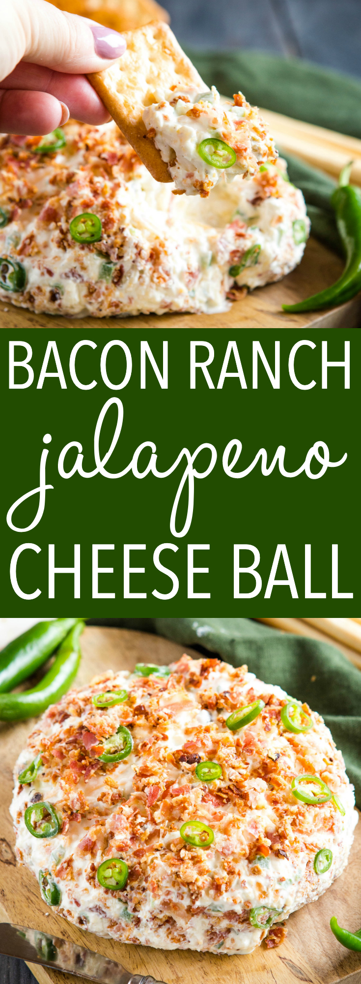 This Bacon Ranch Jalapeño Cheese Ball makes a delicious appetizer for holiday entertaining.  It's easy to make with ranch dip mix, crumbled bacon, jalapeños and cheese! Recipe from thebusybaker.ca! #ranch #cheeseball #jalapeno #bacon #appetizer #newyearseve #gameday via @busybakerblog