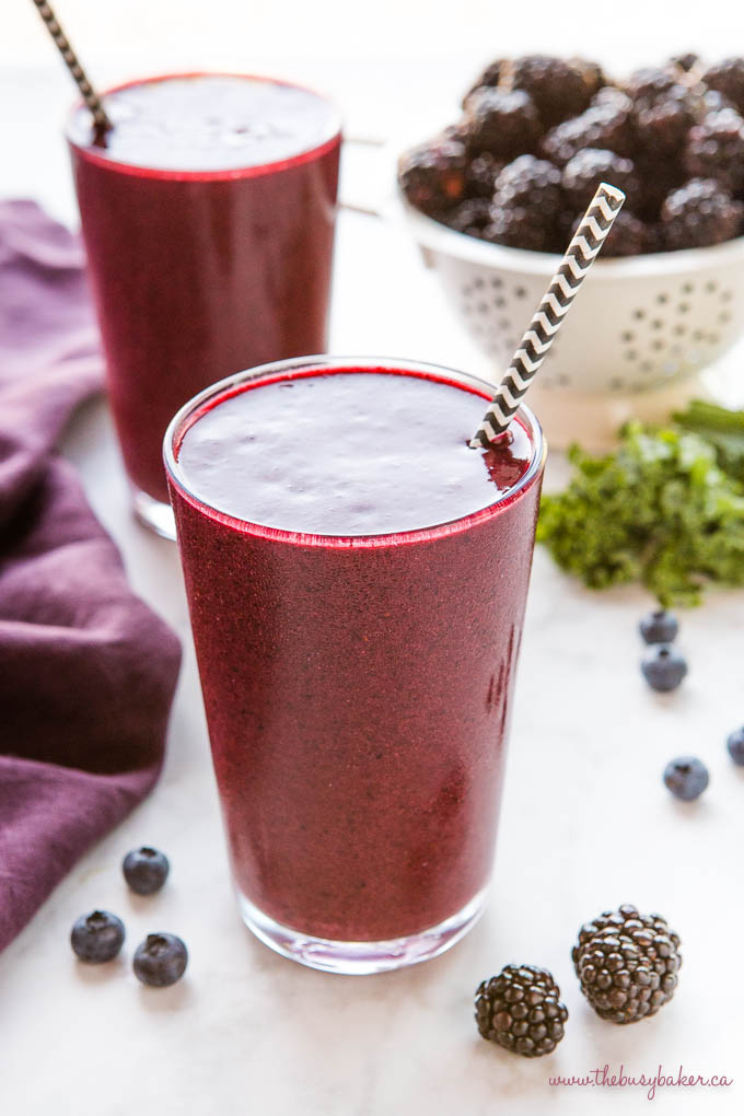 blackberry kale smoothie in a large glass