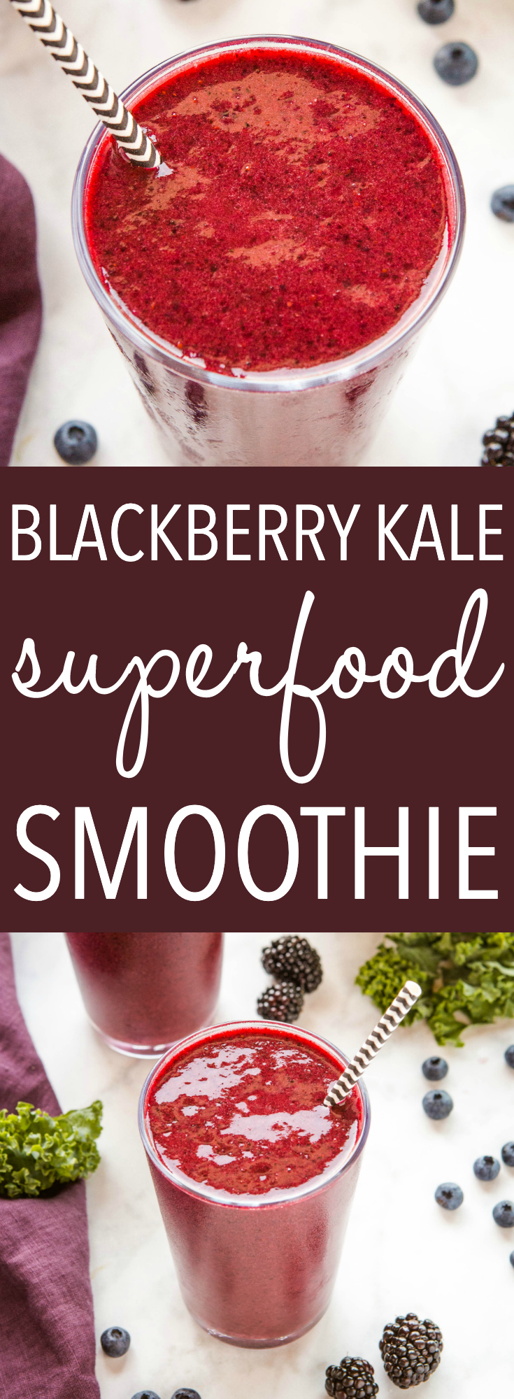 This Blackberry Kale Superfood Smoothie is the perfect healthy smoothie for breakfast or a post-workout snack! It's packed with kale and juicy blackberries, and it's vegan and dairy-free! Recipe from thebusybaker.ca! #recipe #smoothie #healthy #lowcarb #lowfat #health #weightloss #workout #fitness #newyearnewyou via @busybakerblog