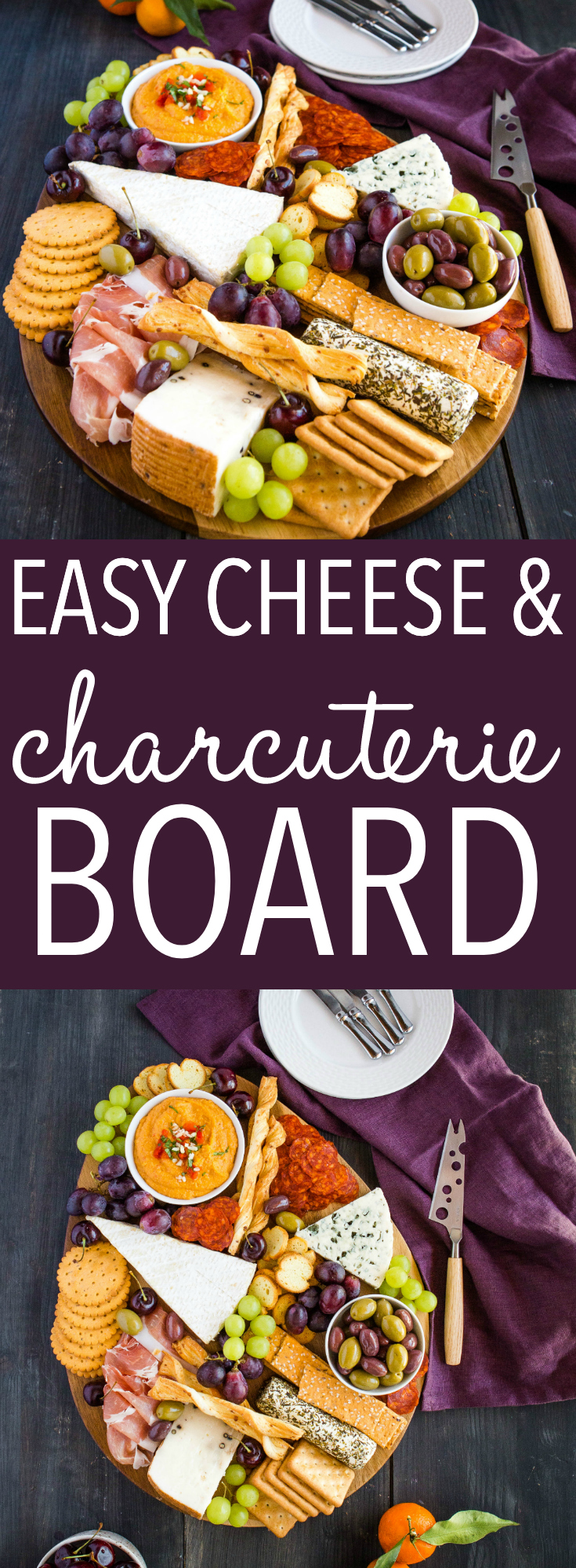 This Easy Charcuterie Board is the perfect simple appetizer for any get-together featuring a variety of cured meats, cheeses, crackers, fruit, nuts and olives! Easy to make and always a crowd-pleaser! Recipe from thebusybaker.ca! #charcuterie #board #appetizer #gather #friends #gamenight #meatsandcheeses #cheeseboard via @busybakerblog
