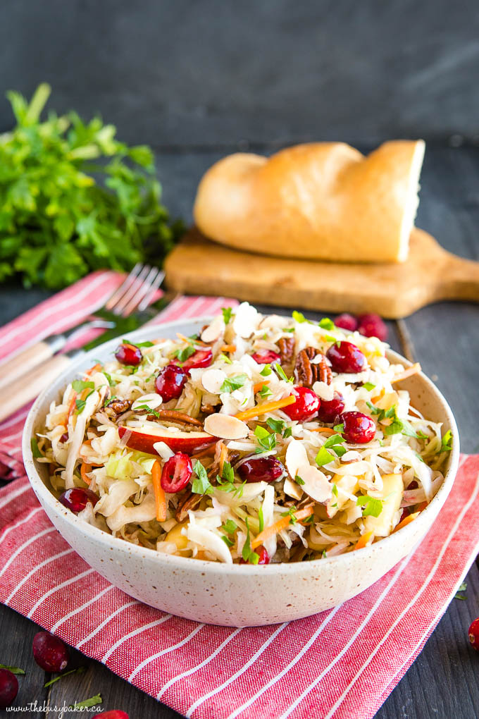 bowl of maple cranberry coleslaw