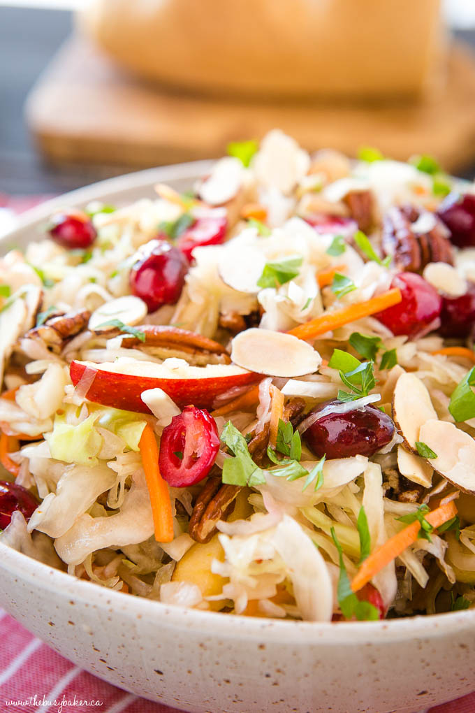 maple cranberry coleslaw in speckled pottery bowl