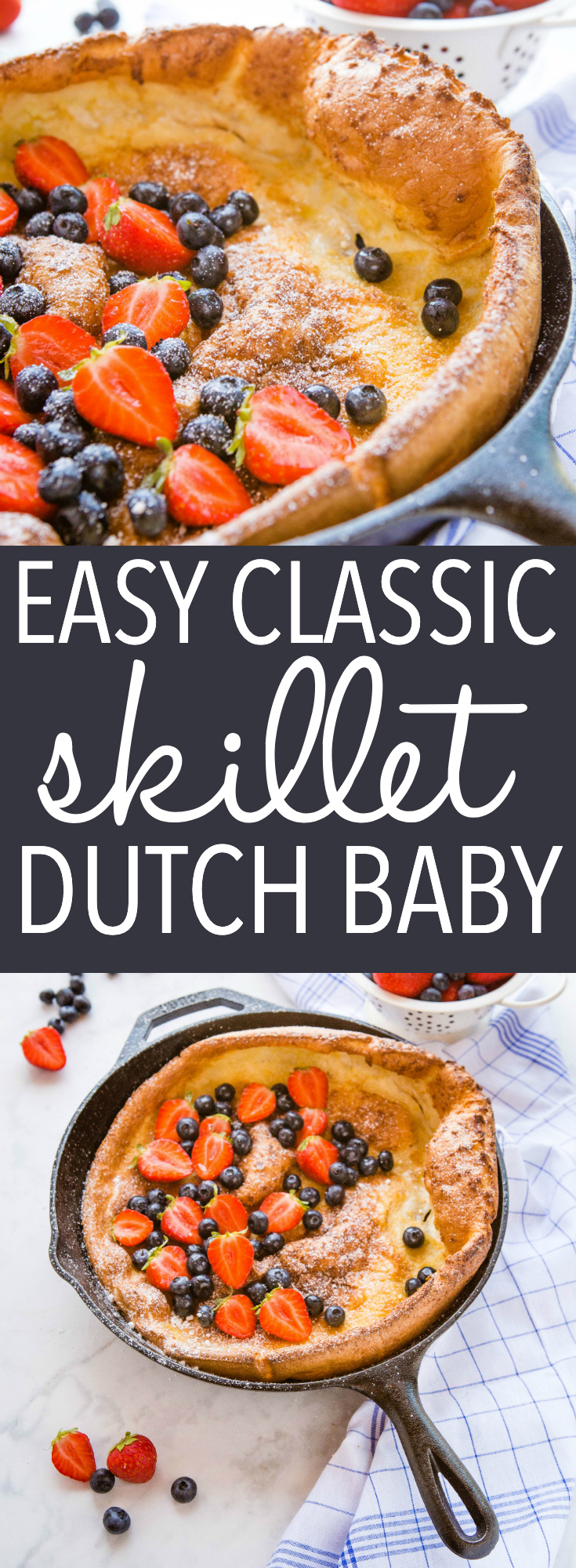 This Easy Skillet Dutch Baby is the perfect simple breakfast - a no-fuss pancake dough poured into a hot skillet and baked to fluffy perfection! Serve with fresh berries and a dusting of powdered sugar! Recipe from thebusybaker.ca! #dutchbaby #germanpancake #breakfast #entertaining #holidays #brunch #holidayrecipe #christmas via @busybakerblog