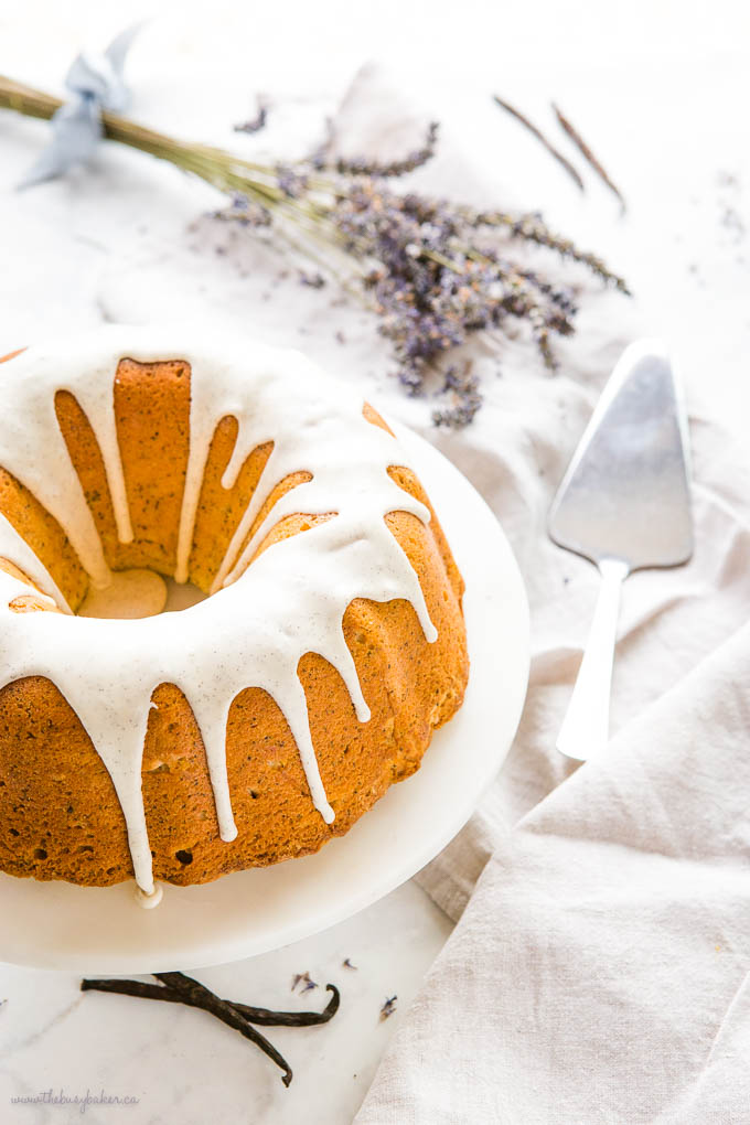 Earl Grey Bundt Cake with Vanilla Bean Glaze, with vanilla beans and lavender