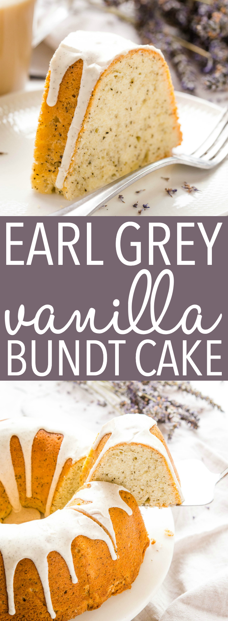 This Earl Grey Vanilla Bundt Cake with Vanilla Bean Glaze is the perfect simple cake for tea-lovers! Easy to make, beautiful presentation, and perfectly tender, moist and sweet! Recipe from thebusybaker.ca! #tea #cake #earlgrey #bundtcake #easycake #baking #easy #recipe #dessert #baker #vanilla #vanillabean #glaze #howtobake via @busybakerblog