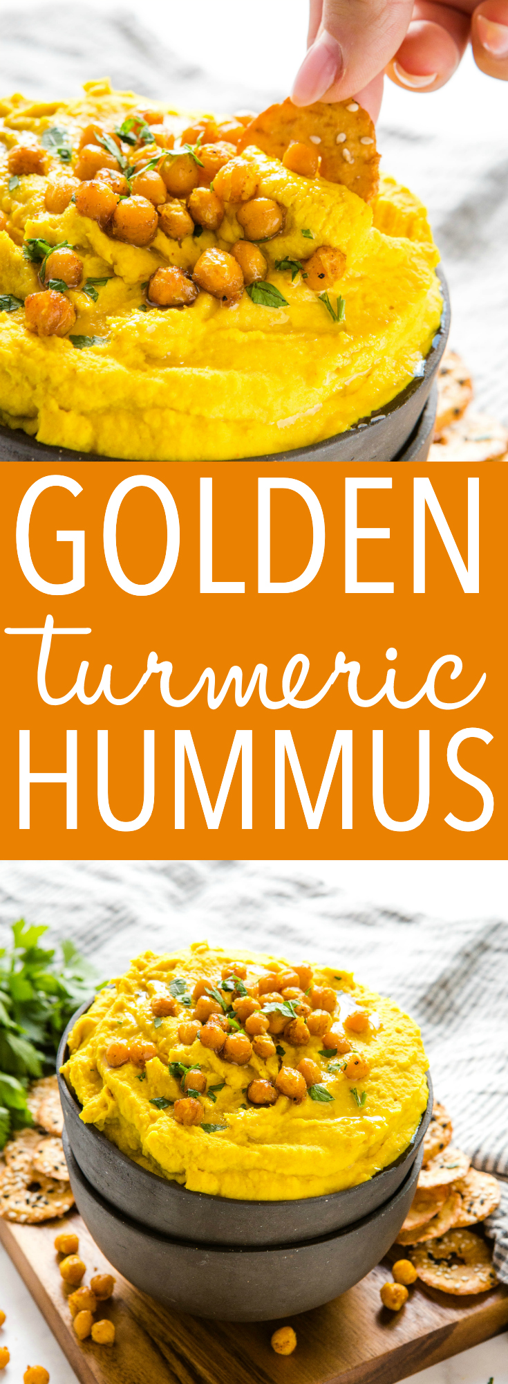 This Golden Turmeric Hummus is the perfect easy-to-make snack or appetizer made with chickpeas, turmeric and garlic! Creamy and smooth and so easy to make! Recipe from thebusybaker.ca! #turmeric #hummus #snack #appetizer #superfood #health #healthy #homemade via @busybakerblog
