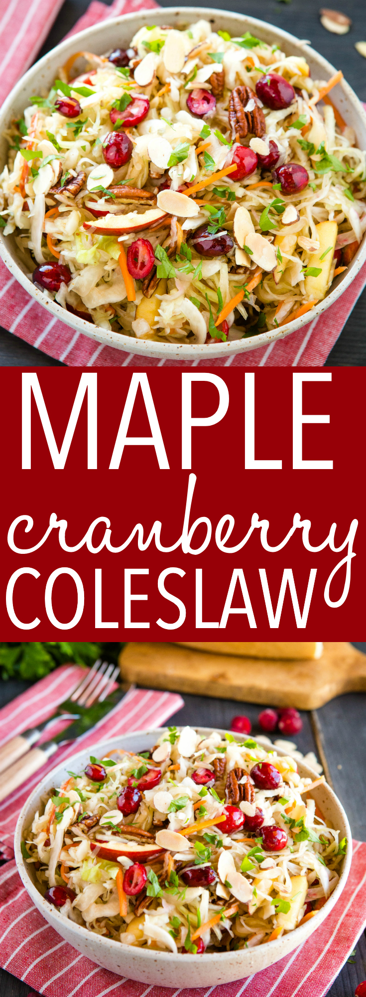 This Maple Cranberry Coleslaw is a delicious and healthy holiday side dish made with fresh cranberries, pecans and maple syrup! Recipe from thebusybaker.ca! #coleslaw #holiday #sidedish #salad #christmas #cranberry via @busybakerblog