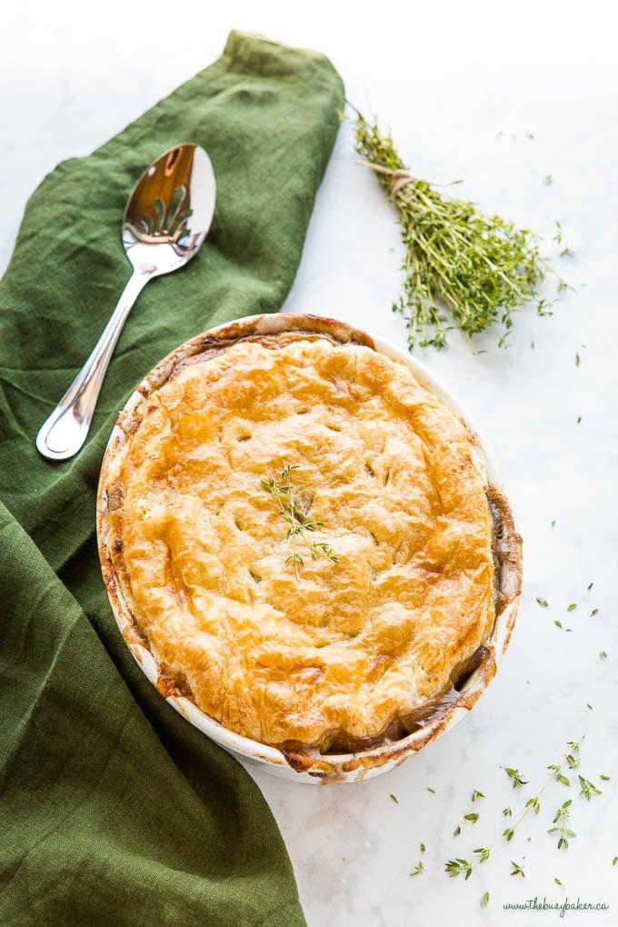 overhead image: vegetarian mushroom pot pie with fresh thyme