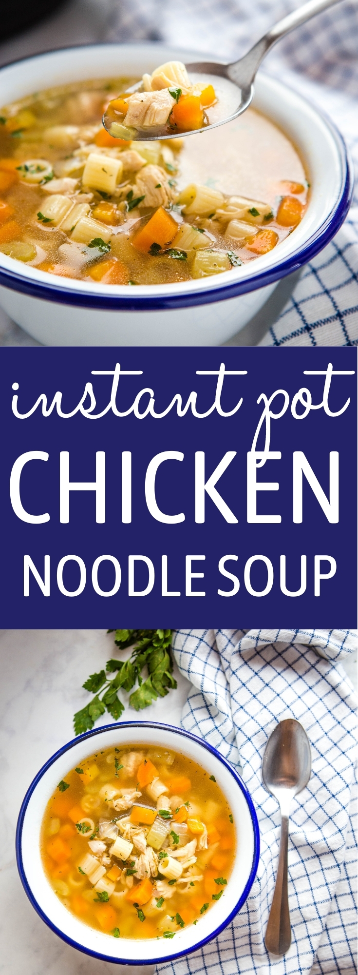 This Easy Instant Pot Chicken Noodle Soup is healthy & wholesome, packed with veggies & chicken breast, and it's so easy to make in the Instant Pot in about 30 minutes! Recipe from thebusybaker.ca! #instantpot #chickennoodlesoup #sickday #snowday #winter #soup #homemade #pressurecooker #fast #dinner #easymeal via @busybakerblog