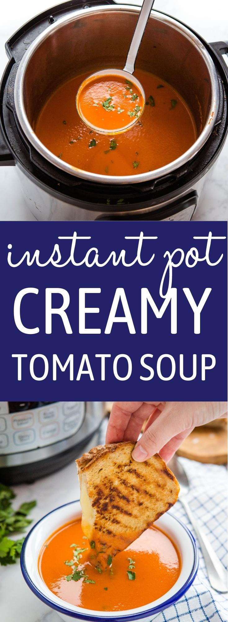This Instant Pot Creamy Tomato Soup is the perfect easy soup recipe made with basic pantry ingredients! It's creamy, smooth and it's easy to make in 20 minutes! Recipe from thebusybaker.ca! #instantpottomatosoup #souprecipe #instantpot #homemadesoup #homemadetomatosoup #tomatosoup via @busybakerblog