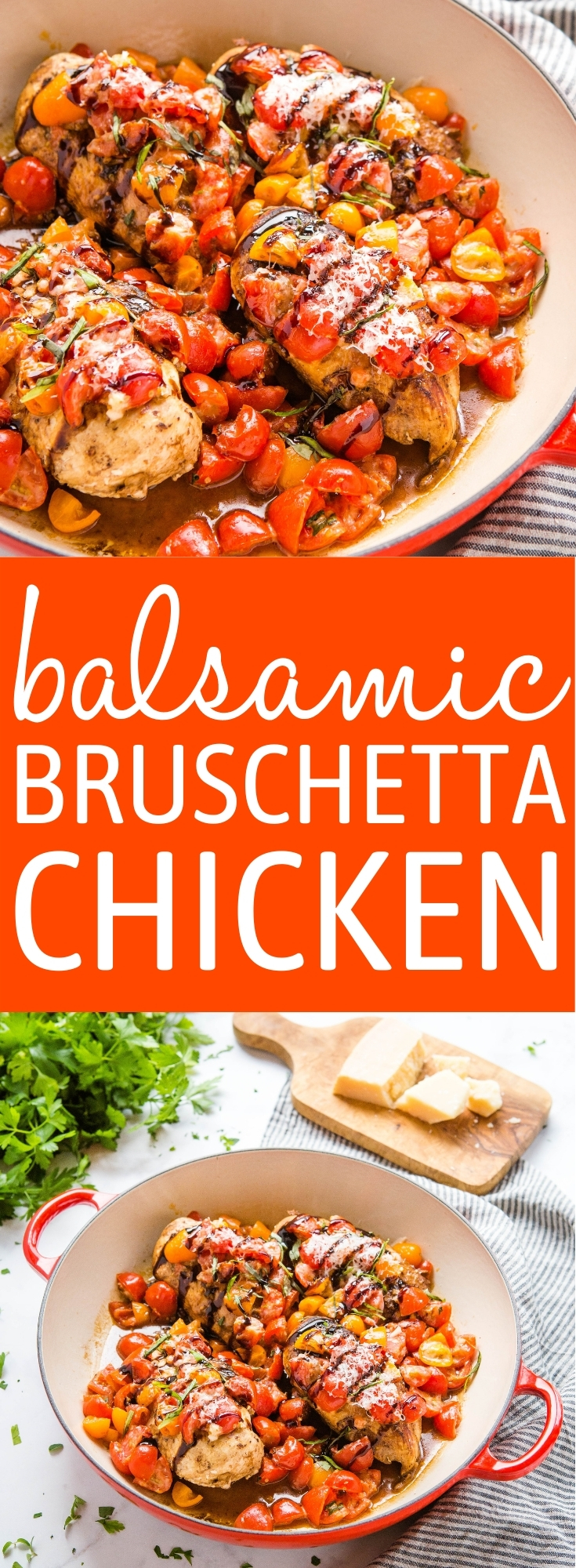 This Baked Balsamic Bruschetta Chicken is a delicious low carb main dish made in one pan in under 35 minutes! Juicy chicken breasts, fresh tomatoes, parmesan, and balsamic glaze. Recipe from thebusybaker.ca! #balsamic #chicken #tomatoes #lowcarb #keto #parmesan #healthy #health #lowfat via @busybakerblog