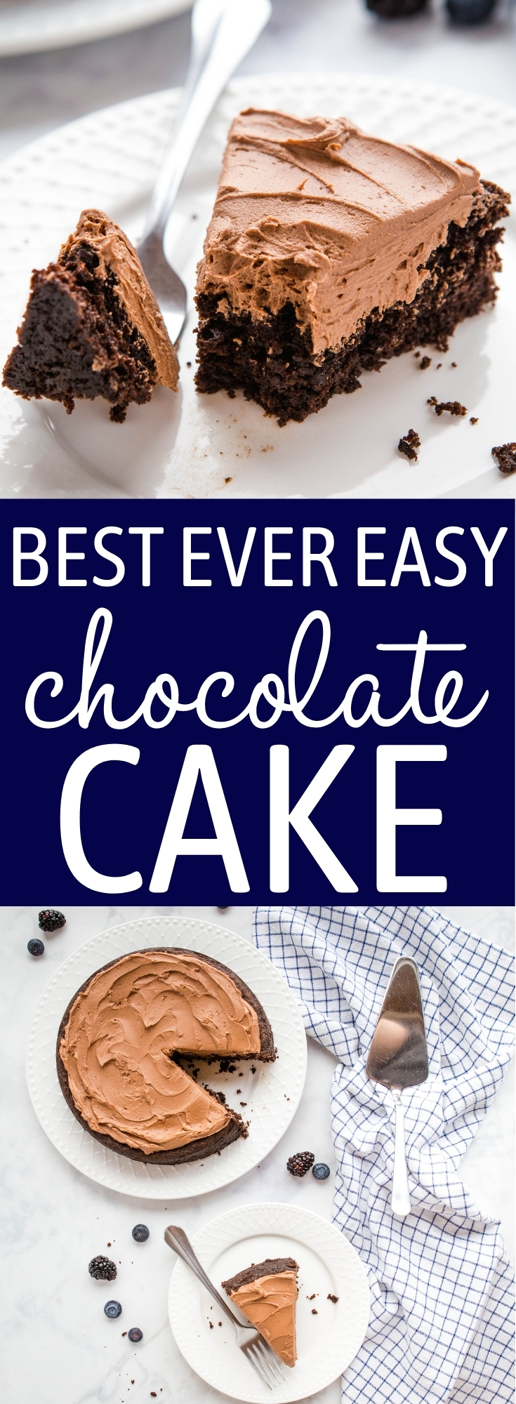 This Best Ever Easy Chocolate Cake is a family favourite recipe that's perfectly moist and tender, ultra chocolatey, and easy to make with basic pantry ingredients! Perfect for beginners! Recipe from thebusybaker.ca! #chocolate #cake #easy #recipe #frosting #simple #bakingforbeginners #familyrecipe #chocolatecake #cakerecipe #baking via @busybakerblog