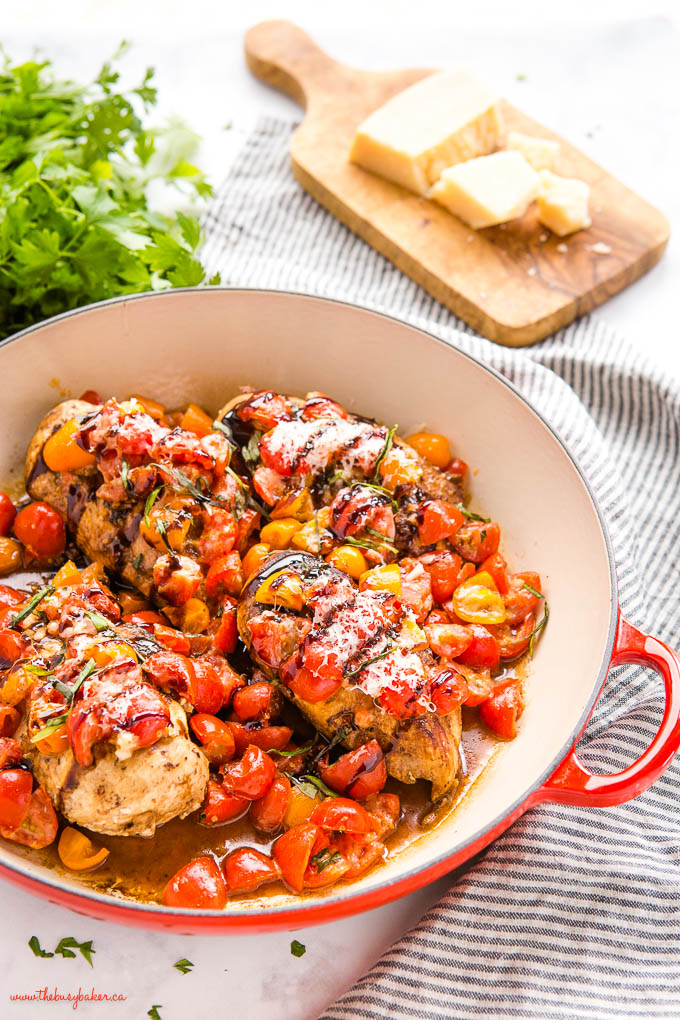 chicken breasts with tomatoes, balsamic and parmesan