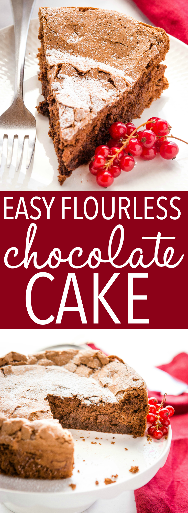 This Easy Flourless Chocolate Cake is ultra-decadent, gluten-free, and perfectly dense and chocolatey! Only 6 ingredients! Recipe from thebusybaker.ca! #flourless #glutenfree #chocolate #cake #dessert #decadent #homemade #sweet #restaurantquality #flourlesschocolatecake via @busybakerblog