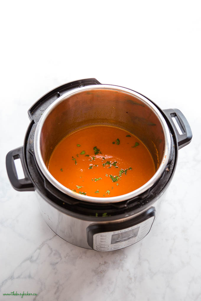 tomato soup in the Instant Pot with fresh basil
