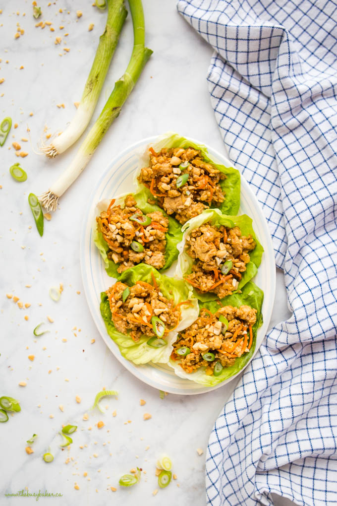 overhead image: plate of thai chicken lettuce lettuce wraps with carrots, green onions and chopped peanuts