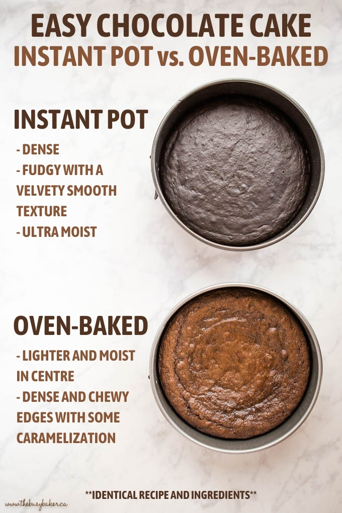 infographic comparing oven baked chocolate cake with instant pot chocolate cake