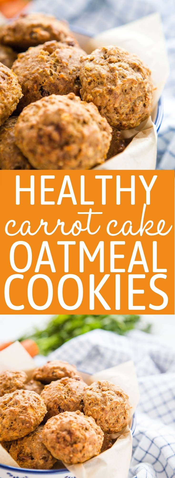 These Healthy Carrot Cake Oatmeal Cookies are the perfect healthy treat or snack that's packed with fruit and veggies, and made with whole grains and no refined sugar! Recipe from thebusybaker.ca! #cookies #healthy #carrotcake #oatmeal #wholegrains #kids #recipe #fibre #carrots #healthybaking via @busybakerblog