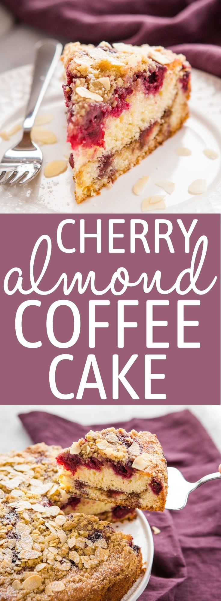 This Cherry Almond Coffee Cake is the perfect moist and fluffy coffee cake packed with sweet cherries, a cinnamon sugar swirl, and the best streusel topping with sliced almonds! Recipe from thebusybaker.ca! #coffeecake #cherryalmond #cake #sweet #treat #baking #homemade #recipe via @busybakerblog