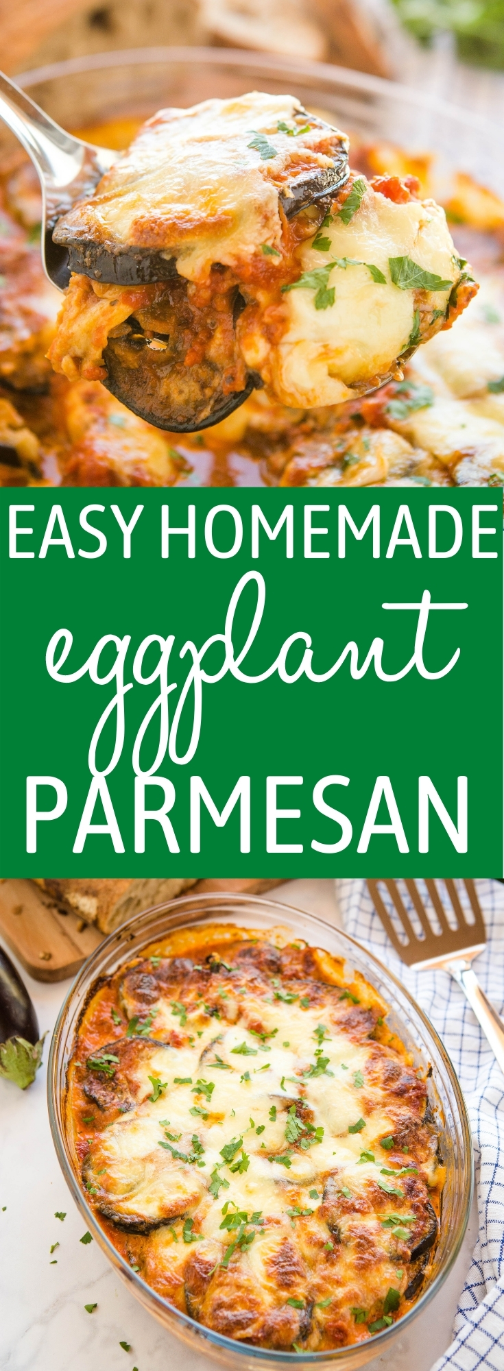 This Easy Eggplant Parmesan is a deliciously cheesy vegetarian meal idea made with fresh eggplants, savoury parmesan and mozzarella cheese, and an easy homemade tomato sauce! Recipe from thebusybaker.ca! #eggplantparmesan #parmesan #cheese #vegetarian #eggplant #plantbased #mealidea #weeknightmeal #easymeal #familymeal #italian via @busybakerblog