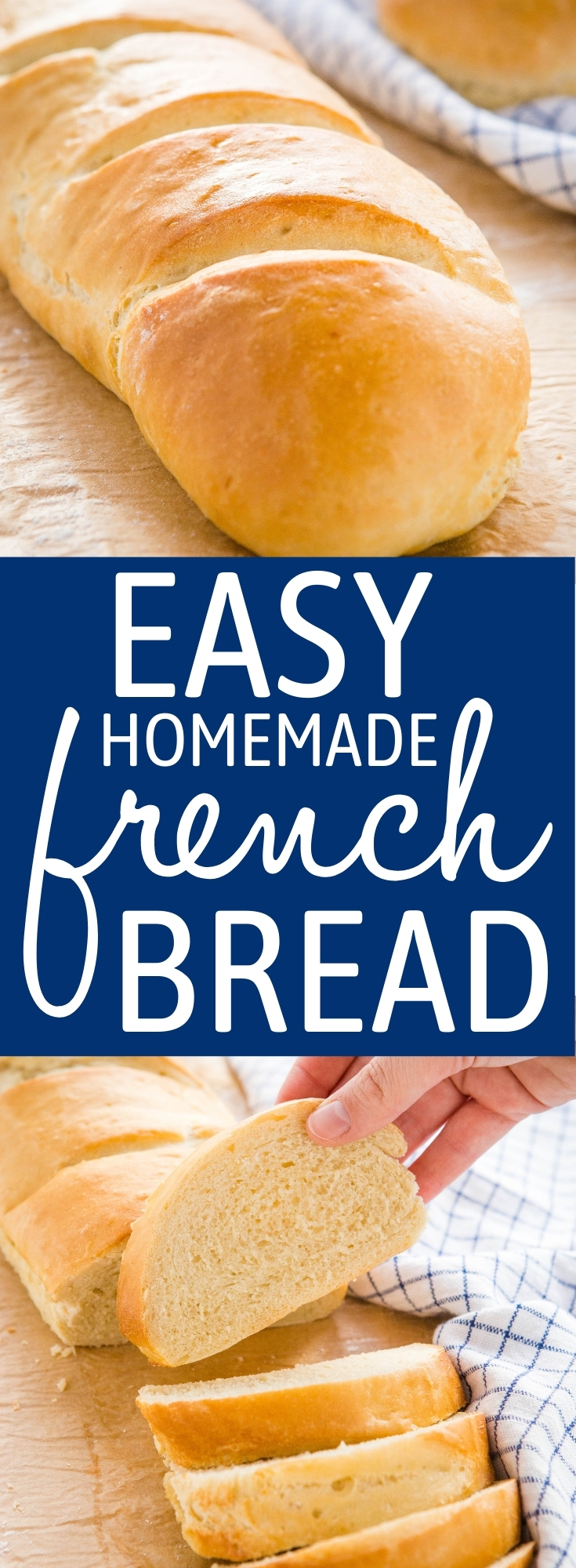 This Easy Homemade French Bread is the perfect bakery-style bread with a crispy crust and a chewy centre  - made with only 5 simple ingredients! Recipe from thebusybaker.ca! #frenchbread #easybread #homemadebread #whitebread #homebaking #baking #bakerystyle #homesteading via @busybakerblog