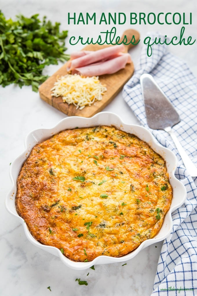 Low Carb Ham and Broccoli Crustless Quiche