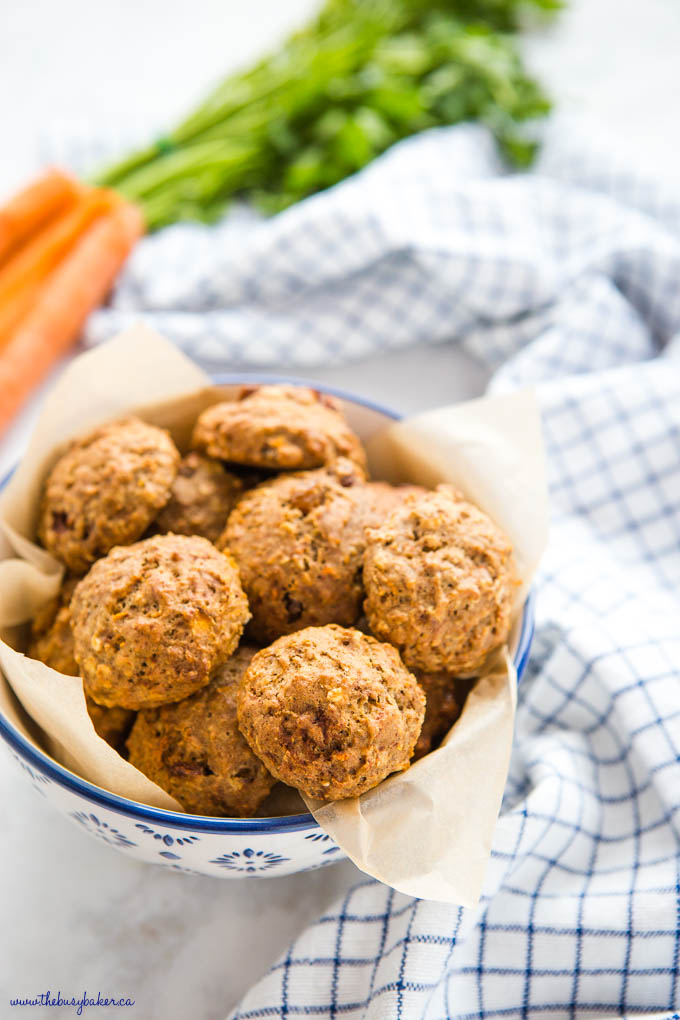 bowl of healthy carrot cake oatmeal cookies