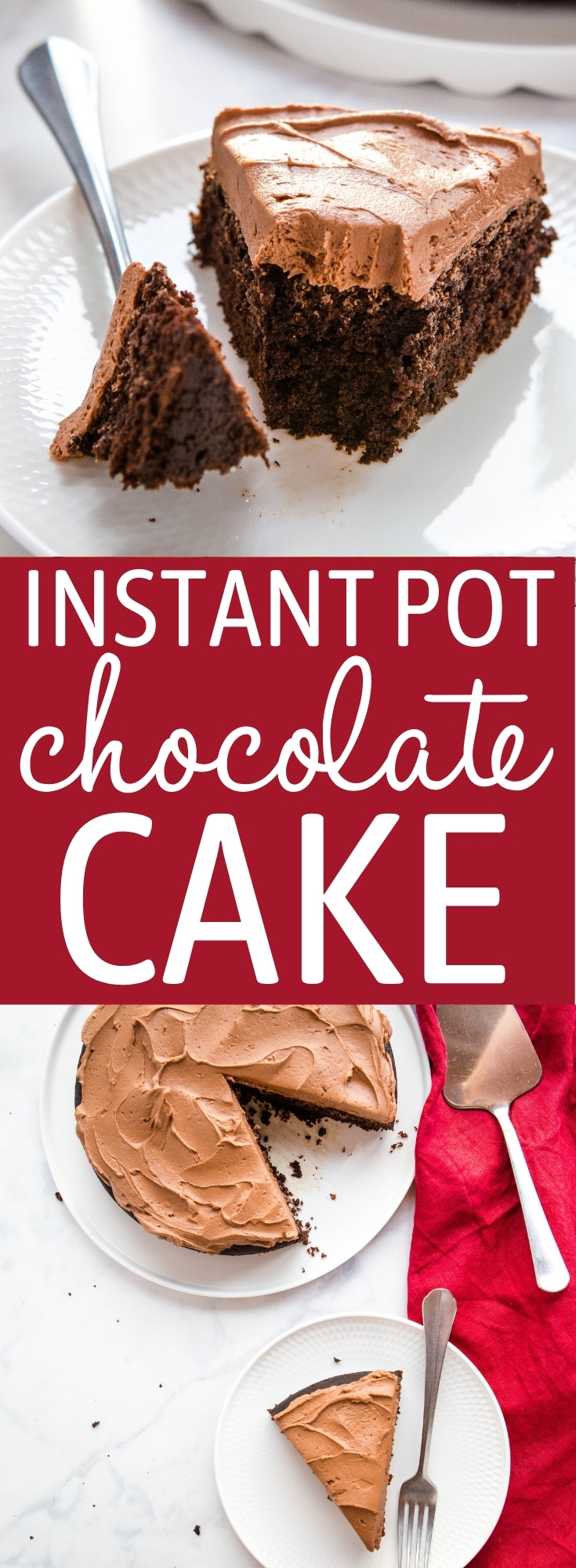This Easy Instant Pot Chocolate Cake is ultra moist and chocolatey, with the perfect tender crumb, and easy to make in the Instant Pot with basic ingredients. Recipe from thebusybaker.ca! #cake #chocolatecake #instapot #pressurecooker #dessert #instantpotcake #easydessert #instantpotbaking #instantpotdessert via @busybakerblog
