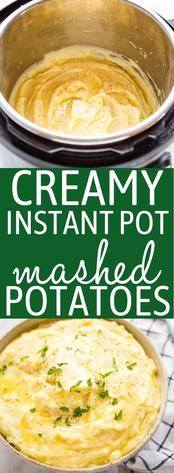 These Creamy Instant Pot Mashed Potatoes are the perfect easy side dish that's perfect for a holiday dinner or a quick weeknight meal! Ultra creamy and decadent, and on the table in 25 minutes! Recipe from thebusybaker.ca! #creamy #mashedpotatoes #instantpot #easysidedish #sidedish #holidaymeal #weeknightmeal #familydinner #easyrecipe via @busybakerblog