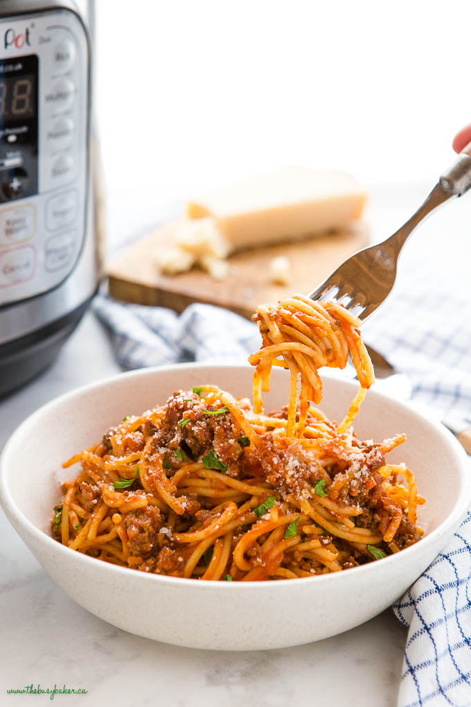 forkful of Instant Pot Spaghetti and Meat Sauce