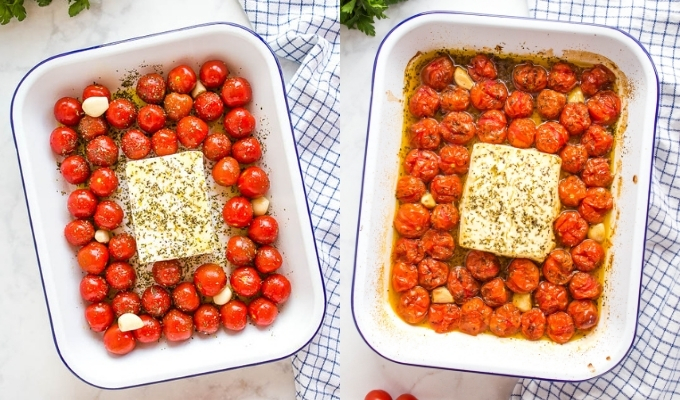 baked feta and cherry tomatoes in white pan with blue rim