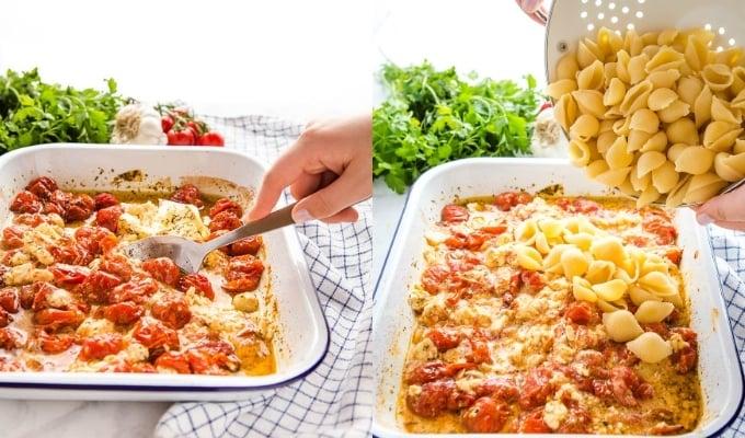 how to make viral baked feta pasta easy recipe