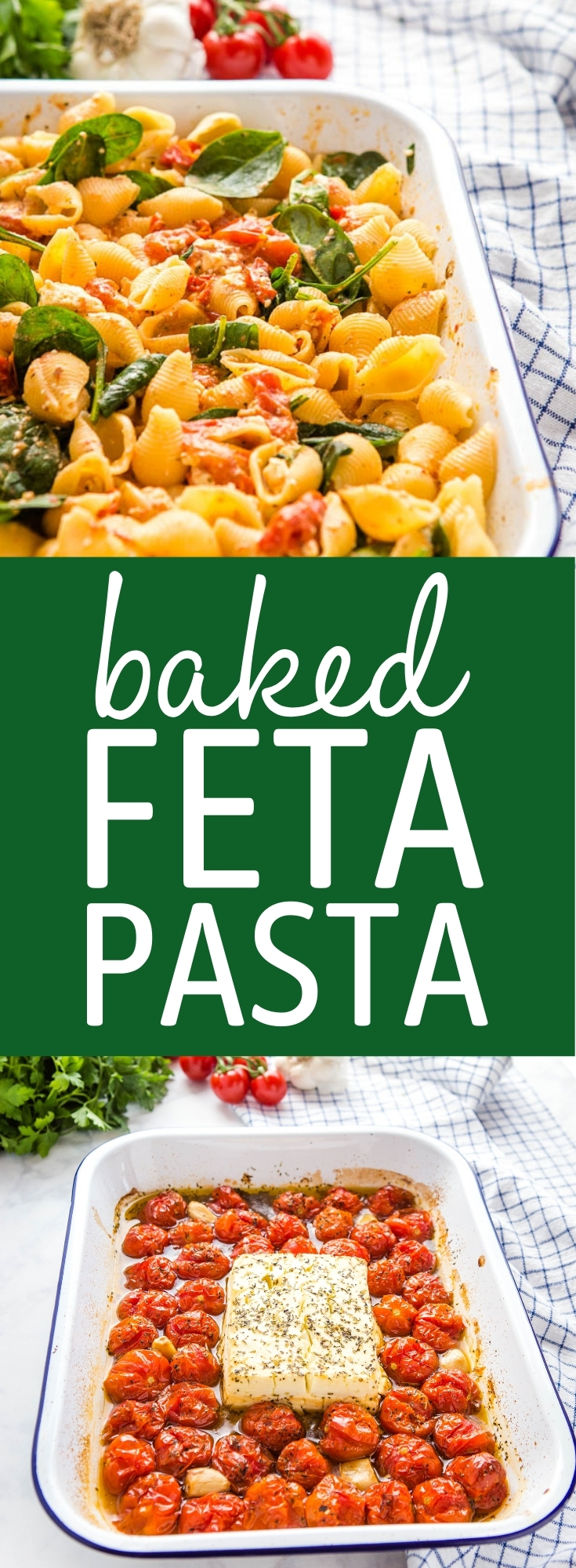 This Easy Baked Feta Pasta is a simple vegetarian meal on the table in 30 minutes. Made with classic feta cheese, cherry tomatoes, garlic, and spinach. Recipe from thebusybaker.ca! #bakedfetapasta #tiktokpasta #viralfetapasta #vegetarian #easymeal #familymeal #greek #italian via @busybakerblog