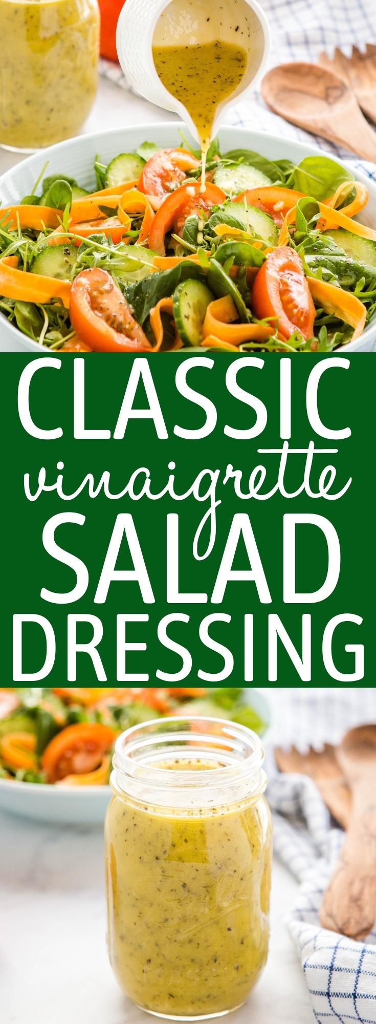 This Classic Vinaigrette Salad Dressing Recipe is perfect for any salad and it's so easy to make! Better than store-bought dressing! Recipe from thebusybaker.ca! #saladdressingrecipe #vinaigrette #dressing #homemade #healthy #saladdressing #healthysaladdressing #homemadesaladdressing via @busybakerblog