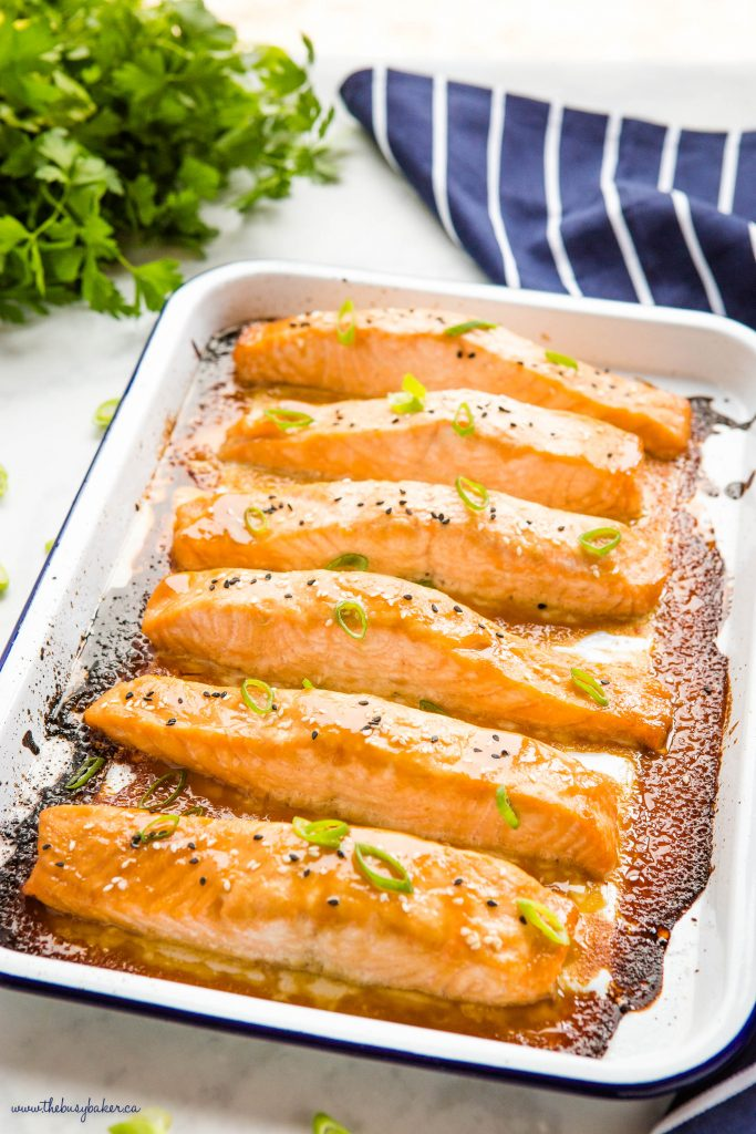 white baking tray with miso salmon