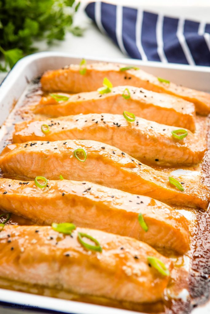 miso glazed salmon on white baking tray