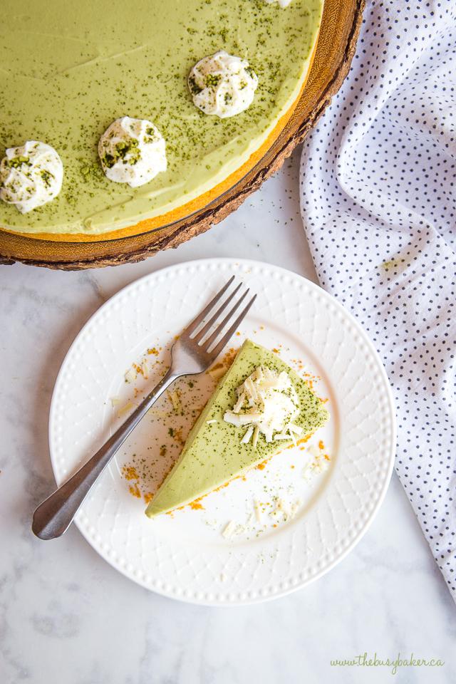 overhead image: matcha cheesecake