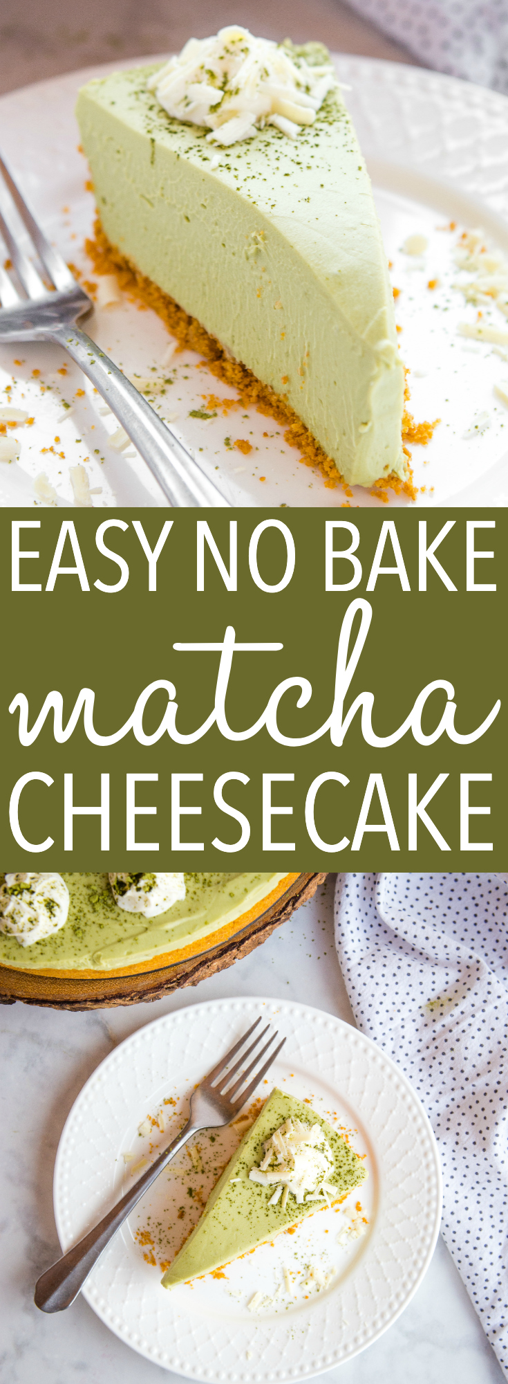 This Easy No Bake Matcha Cheesecake is ultra creamy and smooth with the most delicious green tea flavour! Basic ingredients and gelatine-free! Recipe from thebusybaker.ca! #matchacheesecake #nobakecheesecake #greenteacheesecake #easycheesecake #nobakedessert via @busybakerblog