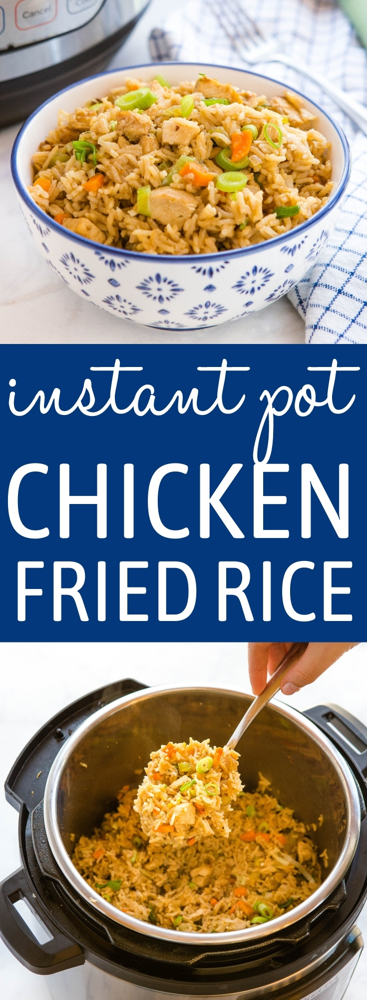 This Instant Pot Fried Rice with Chicken is an easy weeknight meal on the table in 25 minutes. Made with rice, chicken breast, and veggies - better than takeout fried rice! Recipe from thebusybaker.ca! #friedrice #takeout #easymeal #instantpot #weeknightmeal #familymeal #chinesetakeout #easyrecipe via @busybakerblog