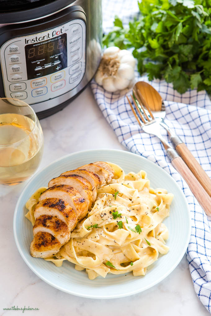 grilled chicken with instant pot fettuccine alfredo