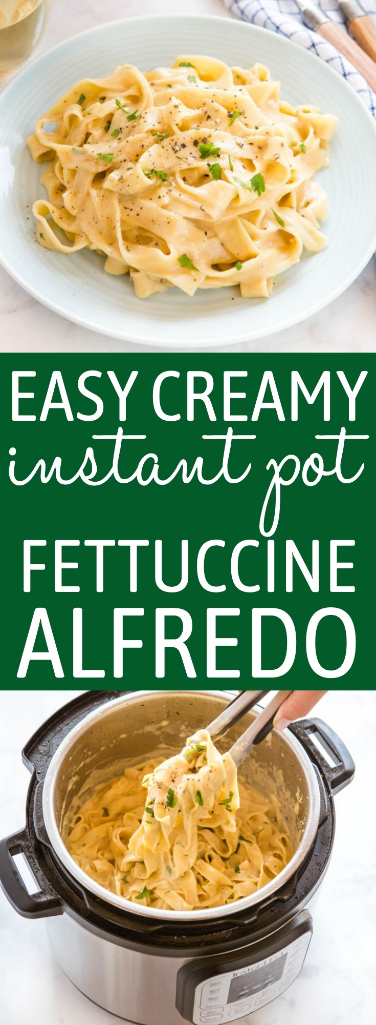 This Easy Instant Pot Fettuccine Alfredo is the perfect restaurant-quality weeknight meal - perfectly cooked pasta in a rich, creamy sauce, on the table in 20 minutes! Recipe from thebusybaker.ca! #fettuccinealfredo #instantpot #onepotpasta #alfredosauce #homemade #restaurantmeal #quickandeasy via @busybakerblog