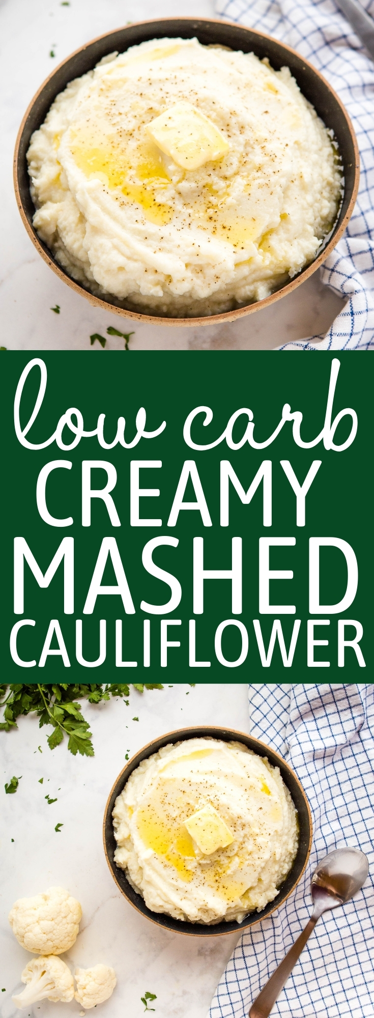 This Low Carb Cauliflower Mash is the perfect Keto alternative to mashed potatoes! Rich and creamy with the perfect starchy texture, and only 5 grams of net carbs per serving! Recipe from thebusybaker.ca! #lowcarb #creamy #mashedcauliflower #cauliflowermash #keto #mashedpotatoes #sidedish #ketosidedish via @busybakerblog