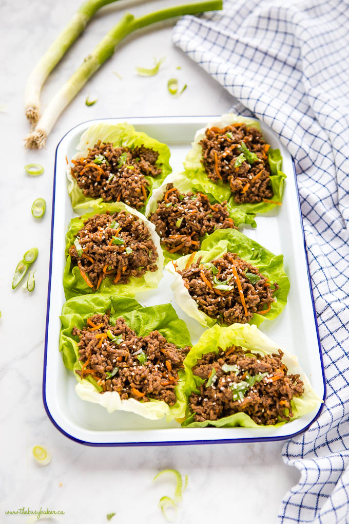 platter of korean beef lettuce wraps