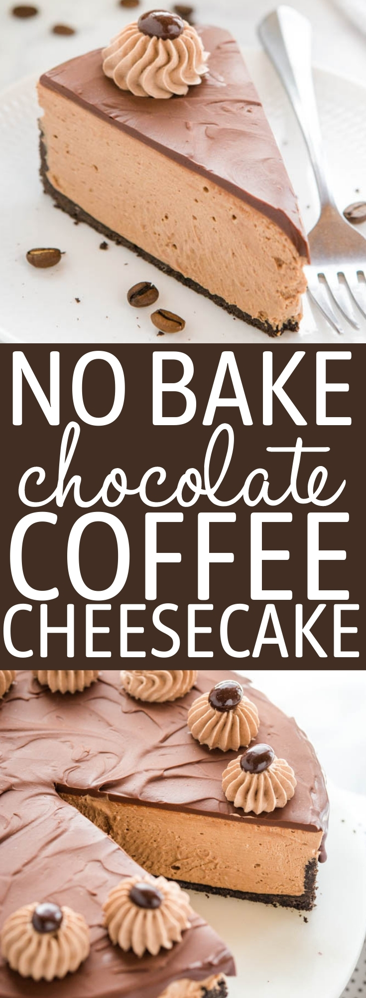 This No Bake Chocolate Coffee Cheesecake is ultra creamy and smooth, packed with espresso and chocolate and topped with a decadent chocolate ganache! No baking required! Recipe from thebusybaker.ca! #chocolate #coffee #cheesecake #coffeecheesecake #nobake #dessert #mocha #summer #cake via @busybakerblog