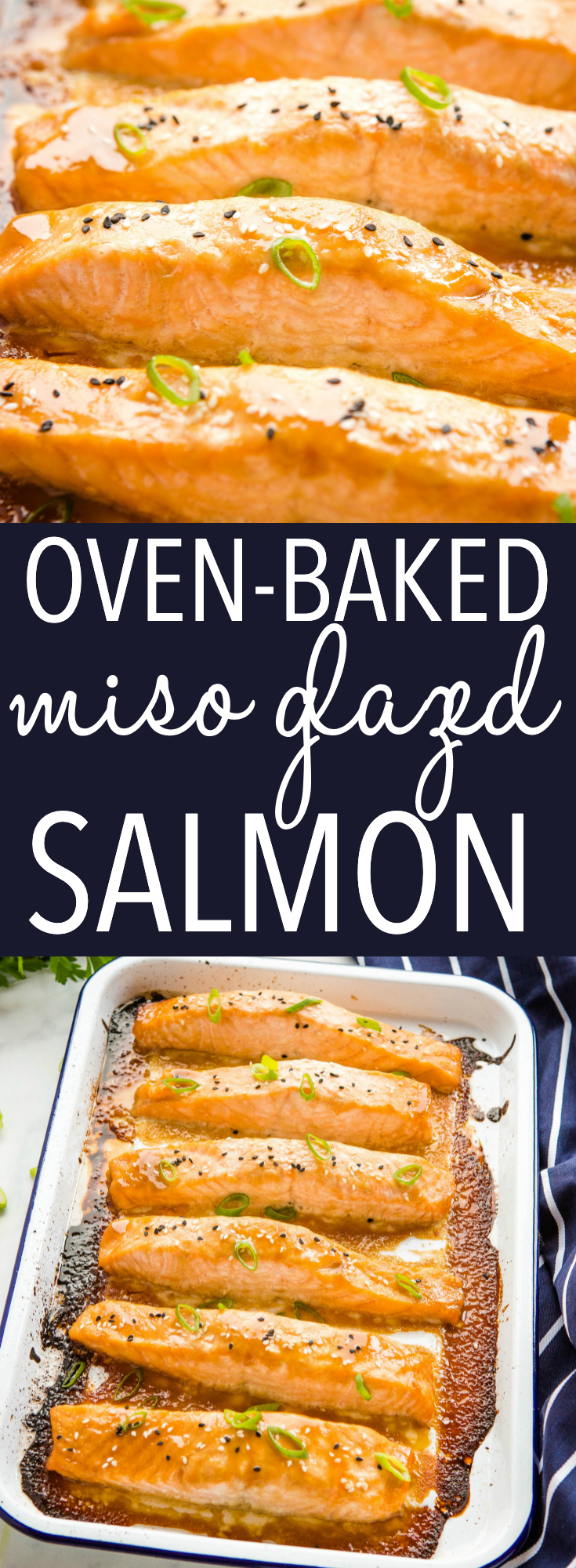 This Easy Glazed Miso Salmon is a super simple baked salmon recipe with a 4-ingredient miso glaze. Ready in 15 minutes! Recipe from thebusybaker.ca! #misosalmon #easybakedsalmon #bakedsalmon #lowcarb #healthy #healthysalmon #seafood #familymeal #dinner #maincourse via @busybakerblog