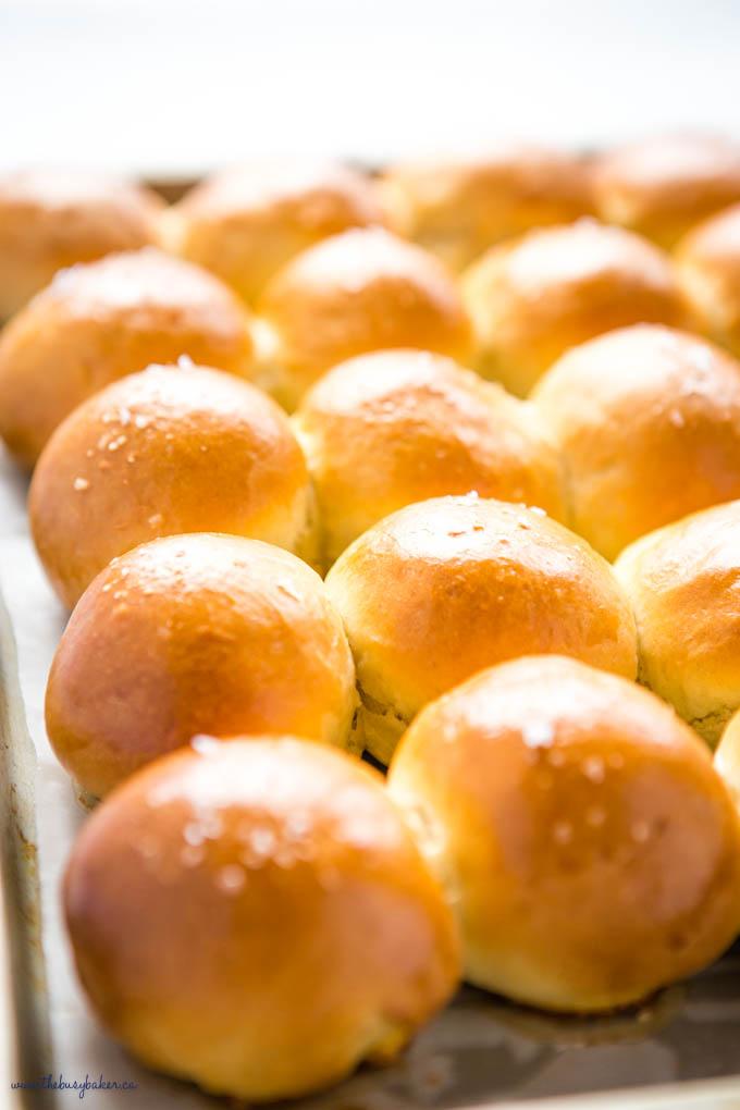 pan of golden brown dinner rolls