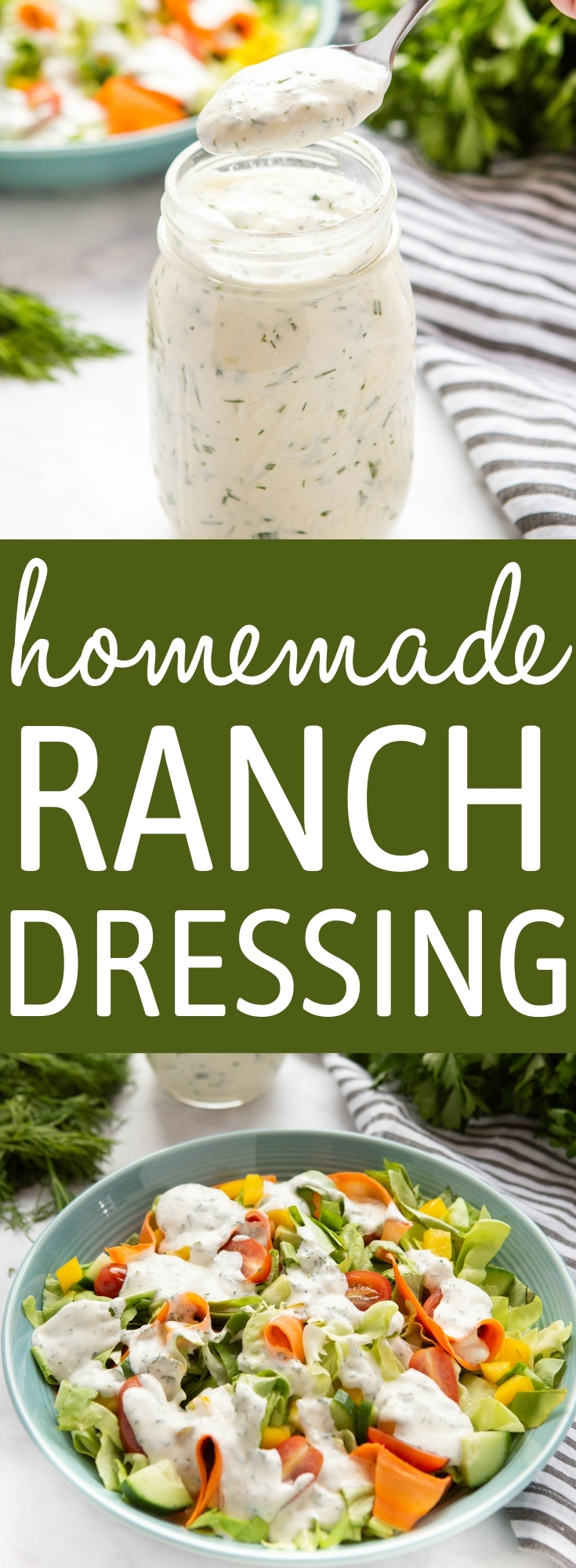 This Homemade Ranch Dressing is ultra creamy and packed with delicious herbs! It makes the perfect addition to any garden salad and it's so easy to make! Recipe from thebusybaker.ca! #ranchdressing #ranchdip #homemaderanch #herbs #garden #creamy #salad #saladdressing via @busybakerblog